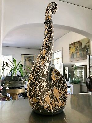 Mid-Century Modern Baked Gold Leaf and Matte Black Ceramic Music Theme Decanter