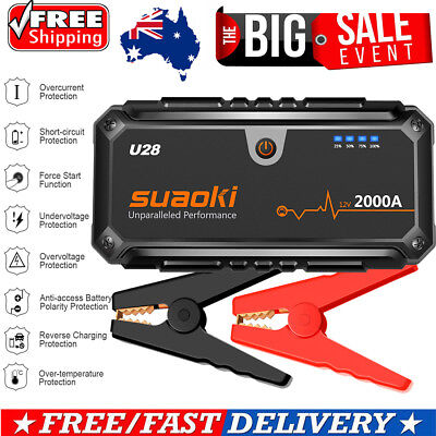 Suaoki 2000A Portable Car Jump Starter Auto Battery Charger Booster Power Bank