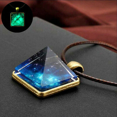 Fashion Cool For Men Vintage Pyramid Dreamy Crystal Necklace Pendant Luminous