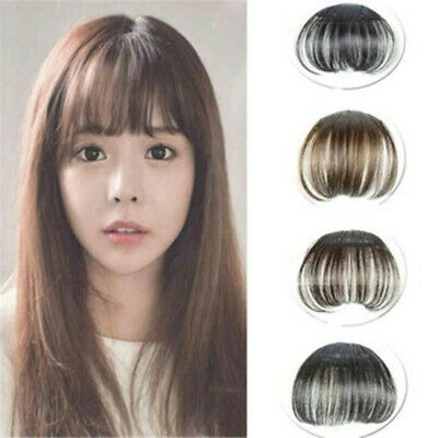 Human Hair Thin Neat Air Bangs Clip In Korean Fringe Front Hairpiece