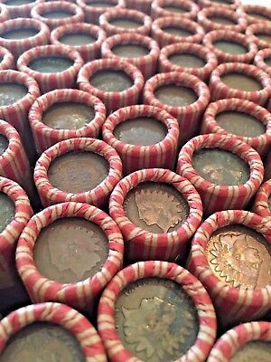 Old Indian Wheat Tightly Crimped Nf String & Son Bank Wrapped Penny Rolls Cents!