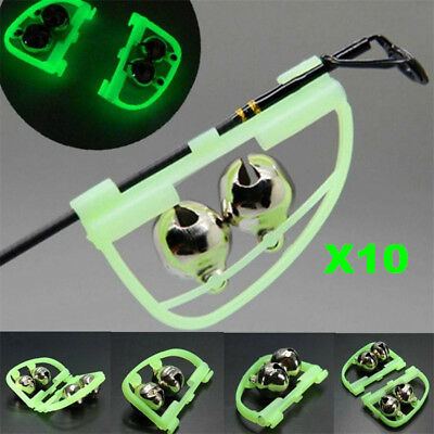 10X Luminous Fishing Feeder Fishing Bell Twin Rod Tip Fish Bell Alarm Tackle