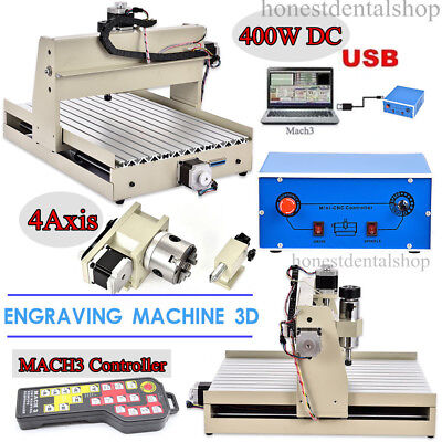 USB 4Axis CNC 3040 Router Engraver Engraving Drilling Cutter+ MACH3 Controller