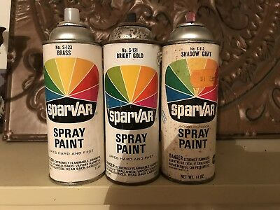 Sparvar brass bright gold shadow gray paper label lot vintage spray paint.