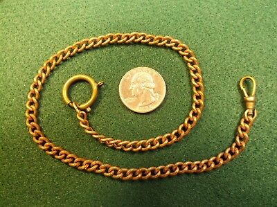 Lovely Antique Victorian Era Rose Gold Filled Curb Link Pocket Watch Fob Chain