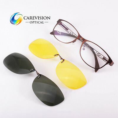 Womens Eyeglasses Frame with 2 PCS Magnetic Polarized Day / Night Clip On Lenses