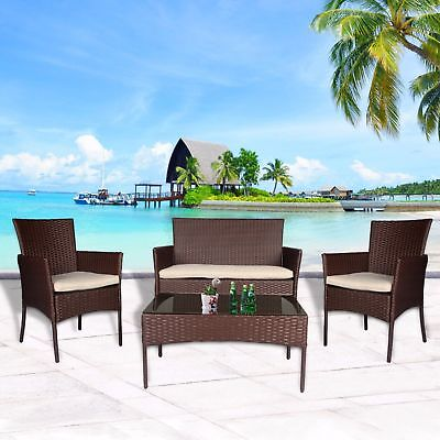 4 PC Patio Rattan Set Wicker Furniture Conversation Sofa Sectional Loveseat Lawn