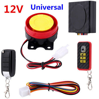 12V Universal Motorcycle Alarm System Anti-theft Security Start Control Remote