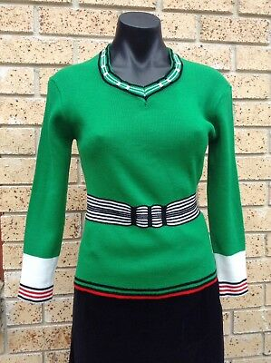 Vintage 70's Retro Jumper Size 12 Emerald Green Red & Black Stretch Knit Top