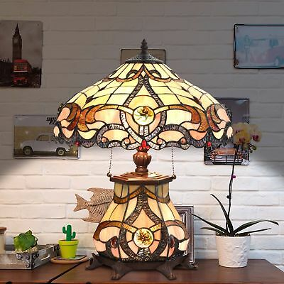 Tiffany Style Table Lamp Jeweled Desk Lamp Floral Stained Glass Home