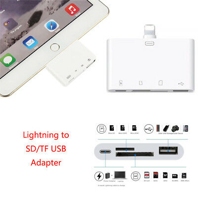 4in1 Lightning to USB Camera Converter SD/TF Card Read Data Sync for iPhone iPad