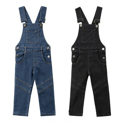 2018 UK Baby Girl Toddler Trousers Kids Dungaree Overall Jumpsuit Playsuit Jeans