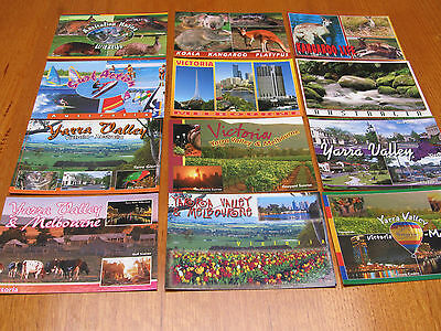 Bulk lot 12 Melbourne, Yarra Valley & Australia Postcards - Sydney Hughes unused
