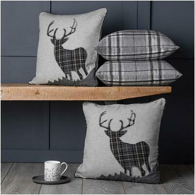 Set of 4 Tartan Stag Cushion Covers 18 inch / 45 cm  or Large 22 inch / 55 cm