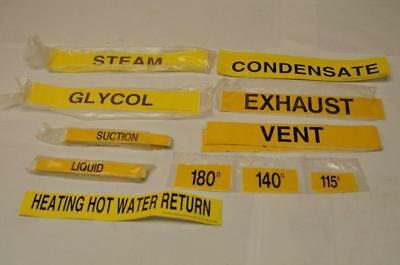 Asst Seton Chilled Pipe Marker Labels Yellow Steam Punk Decor FAST SHIP! C6