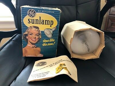 Vtg GE 1950s Sun Lamp Tanning Bulb In Box Tested Works General Electric sunlamp