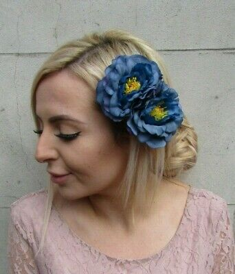 Double Slate Light Blue Rose Flower Hair Clip Fascinator Races Wedding 50s 5772