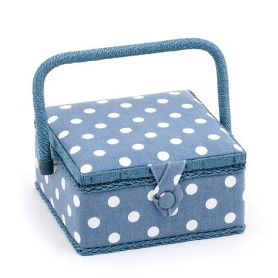 Denim Blue Polka Dot 20cm Square Sewing Box Basket Hobby Gift MRS/271