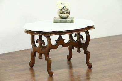 Victorian Marble Top Walnut Coffee Table from 1860's Antique  #28722