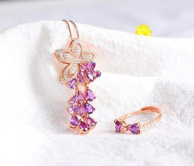 Certified Fashion Amethyst S925 Silver Plated Rose Gold Ring Pendant Necklace