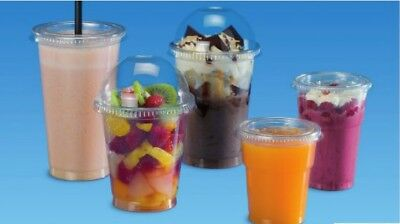 50 pcs Clear Plastic Disposable Smoothie Cups 400ml 14oz Flat Dome Lid AE-550