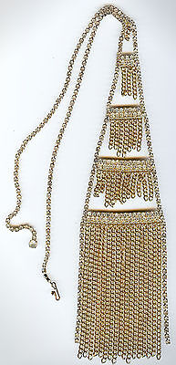 Vintage Glamorous Huge Clear Rhinestone Four Tiered With Dangle Chains Necklace