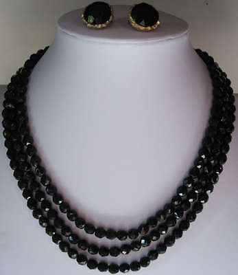 Vintage 3 Strand Faceted Black Glass Bead Necklace & Earrings