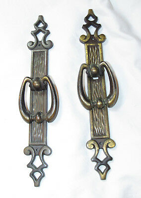 "Vintage Amerock Carriage House Long 8.25"" Antiqued Brass Drawer Pull handles Pr"