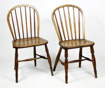 A pair of Victorian Elm & Ash Windsor Chairs - FREE Shipping [PL4444]