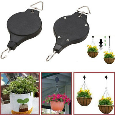 Retractable Pulley Hanging Basket Pull Down Hanger Home Garden Plant Pots Hook