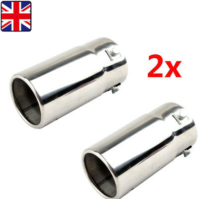 Pair 75mm Chrome Stainless Steel Car Tail Exhaust Pipe Tip End  Racing Muffler