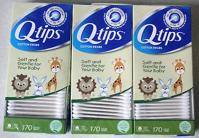 Q-tips Cotton Swabs For Babies 170 ea (Pack of 3) 510 Count Total