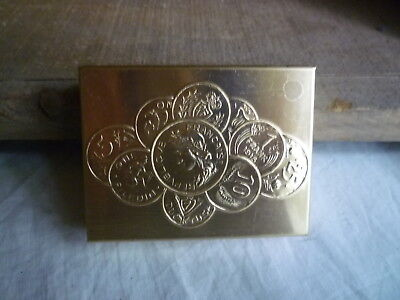 Vintage Coin Case Compact Sorter Embossed French Coin Design Gold Tone