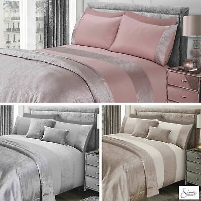 Sienna Velvet Glitter Duvet Cover with Pillow Case Set Bedspread Blanket Cushion