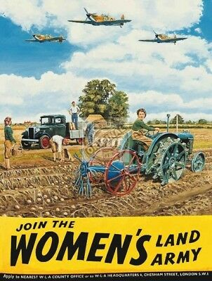 Join the Woman's Land Army. WW2 Women Help Farm Medium Metal/Steel Wall Sign