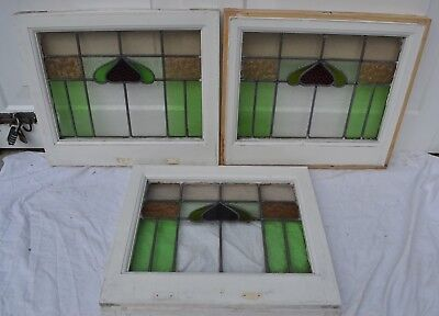 3 English leaded light stained glass window panels. R636. WORLDWIDE DELIVERY!
