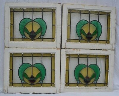 4 English leaded light stained glass window panels. R662. WORLDWIDE DELIVERY!
