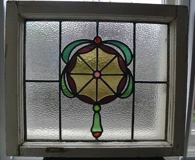 1 English leaded light stained glass window panel. B776. (Some cracks).