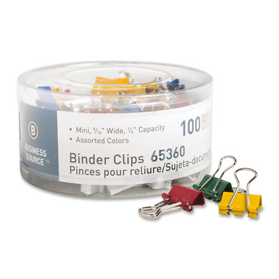 Business Source Mini Binder Clips - Pack of 100 - Assorted Colors Mini