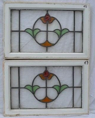 2 English leaded light stained glass window panels. B767e-f. WORLDWIDE DELIVERY