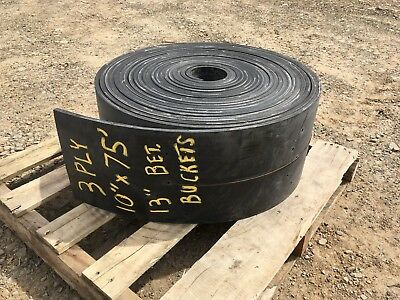 "Bucket Elevator Conveyor Belt 3 Ply Black 10"" x 75ft pre-drilled Rubber"