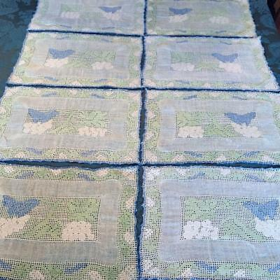 8 ANTIQUE 1920s GRAPE MOTIF LINEN NEEDLE-LACE PLACEMATS -CLEAN & FABULOUS!