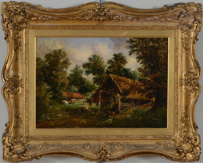 """Painting"""" Farmers Cottage"""", by Alfred Vickers 1862, oil on canvas,period frame"""