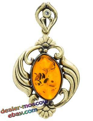 Bronze Solid Brass Baltic Amber Large Pendant Bib Necklace Womanly Bends