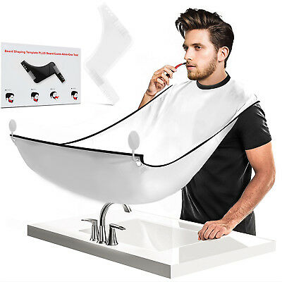 Beard Catcher Cape Bib and Shaper Template Edging Tool Mirror Suction Cups Apron