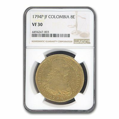 1794 Colombia Gold 8 Escudo Charles III VF-30 NGC - SKU#159862