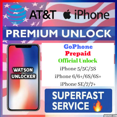Premium Factory Unlock Service Code For AT&T iPhone GoPhone, Prepaid