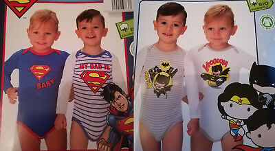 2er Pack Baby Body's Supermann oder Justice League 62/68 74/80 86/92 98/104