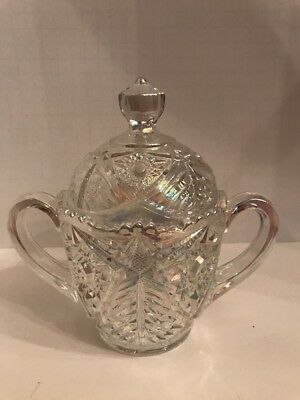 Mosser Glass Carnival Covered Double Handle Sugar Bowl