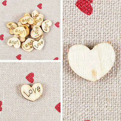 100x Wooden Wood Love Heart Pieces Painting DIY Crafts Cardmaking Scrapbooking D
